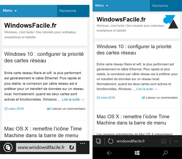 comparaison Windows Phone 8 et Windows 10 Mobile smartphone Nokia Microsoft Lumia