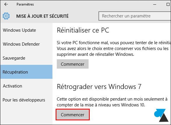 tutoriel revenir downgrade Windows 10 vers Windows 7