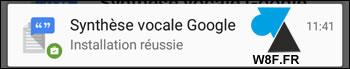 1. Se rendre sur Google Play Store - Synthèse vocale Google. Il faut être connecté à son compte Google / Gmail pour l'installer depuis un ordinateur. 2. Cliquer sur le bouton vert Installer. Google Android PlayStore synthese vocale installer 3. Si vous possédez plusieurs périphériques Android, sélectionner le bon appareil dans la liste et cliquer sur Installer. Google Android PlayStore synthese vocale installer 4. L'installation démarre sur le smartphone ou la tablette, une notification préviendra du bon déroulement des opérations. Google Android PlayStore synthese vocale installer