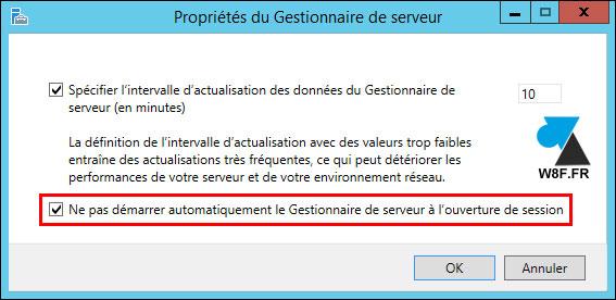 tutoriel Windows Server 2012 R2 désactiver démarrage automatique console Gestionnaire de serveur