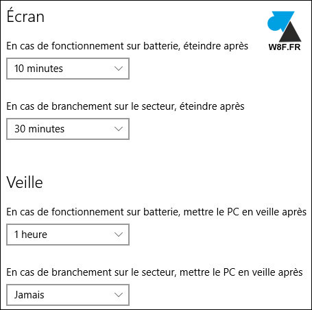 tutoriel Windows 10 veille ecran ordinateur PC portable