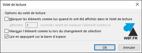 tutoriel Outlook options mail non lu lus