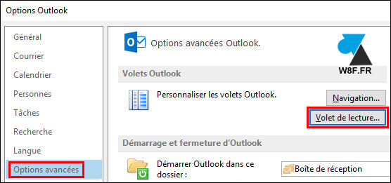 tutoriel Outlook options volet de lecture