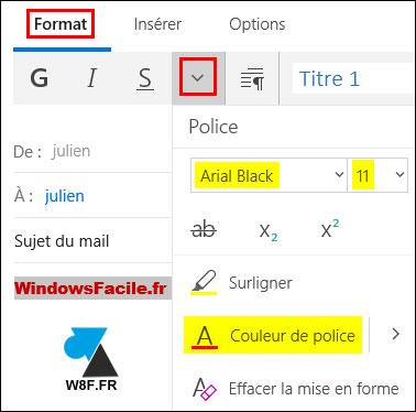 tutoriel Courrier Windows 10 changer police taille couleur texte