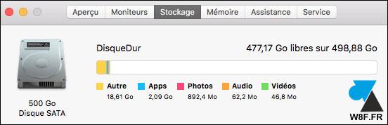 tutoriel OSX macOS Sierra about a propos disque dur
