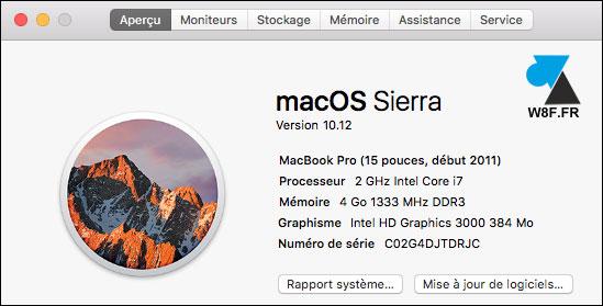 tutoriel OSX macOS Sierra about a propos