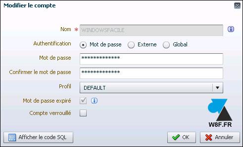 tutoriel Oracle 12c compte utilisateur details