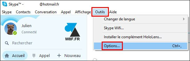 tutoriel Skype option