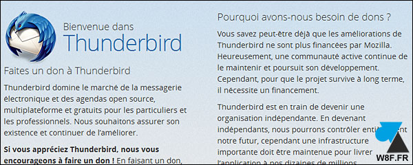 Mozilla Thunderbird message appel au don