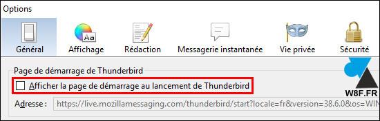 Mozilla Thunderbird message demarrage start page