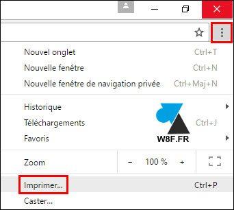 imprimer page web internet fichier PDF Google Chrome