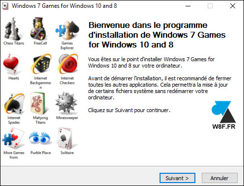 tutoriel télécharger installer jeux Windows 7 sur Windows 10 Spider Solitaire Demineur Freecell Mahjong