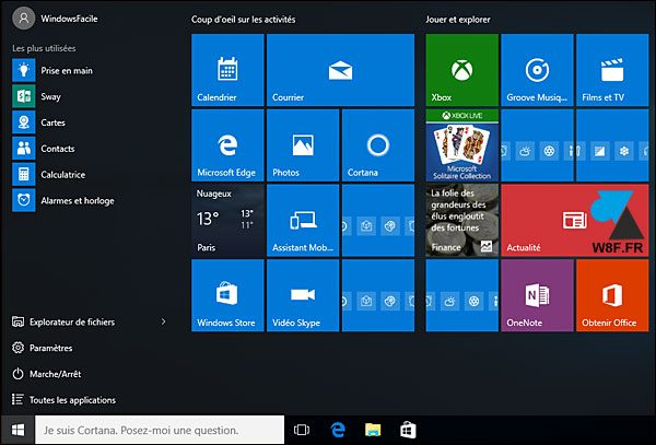 Windows 10 1511 menu demarrer
