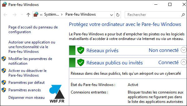 tutoriel Windows 10 configurer pare feu firewall parefeu