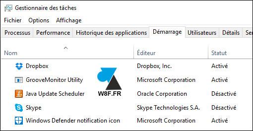 tutoriel Windows 10 Gestionnaire des taches demarrage startup msconfig