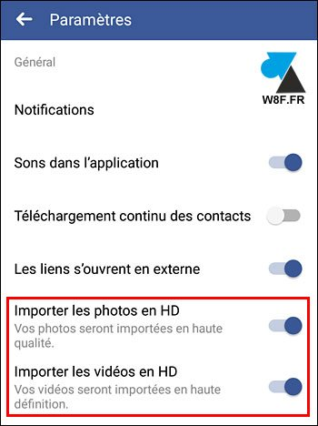 tutoriel configurer Facebook Android photo video HD 4K