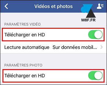 tutoriel configurer Facebook iPhone iPad photo video HD 4K iOS