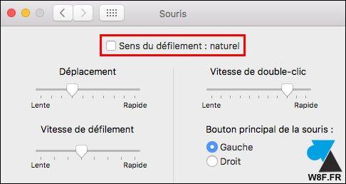 tutoriel macOS Mac souris sens defilement naturel