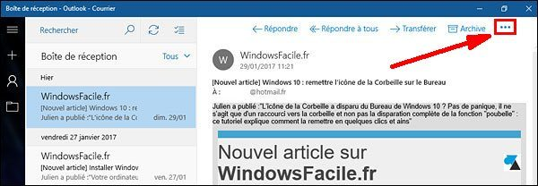 tutoriel Windows 10 Courrier imprimer mail message