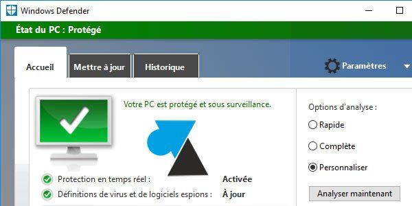 Windows Defender : démarrer une analyse antivirus du PC