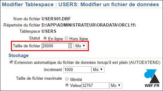 tutoriel Oracle 11g agrandir tablespace BDD