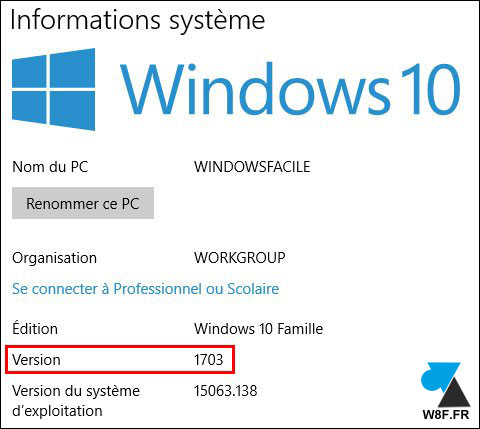 tutoriel WIndows 10 Informations systeme version OS