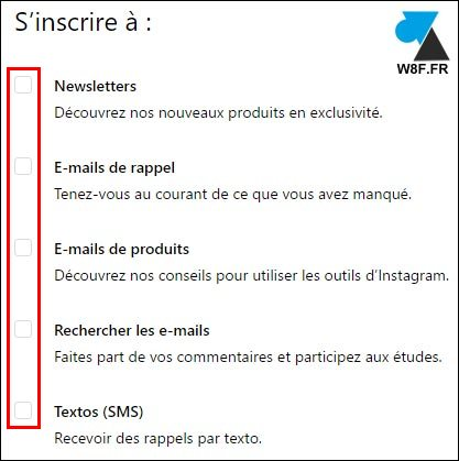 tutoriel desactiver notification mail spam Instagram IG