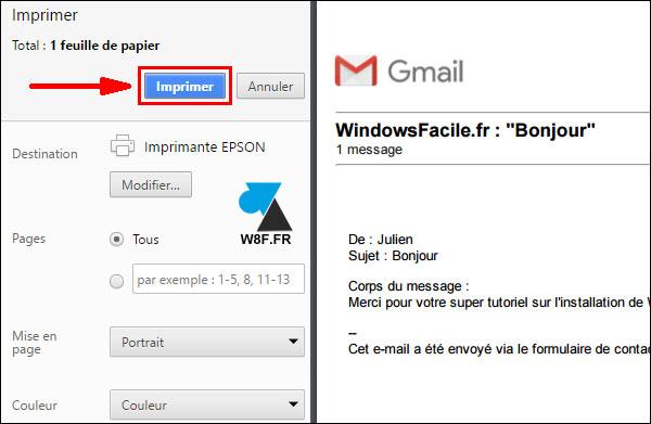 tutoriel imprimer message mail Gmail Google