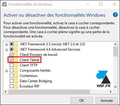 tutoriel Windows 10 installer client Telnet
