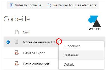 tutoriel OneDrive recuperer fichier supprimé