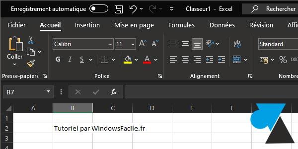 Activer le mode sombre dans Excel