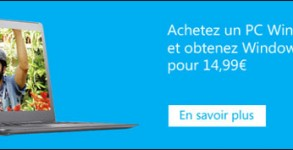 bon reduction coupon promotionnel migration Windows 7 vers 8 pour 15 euros