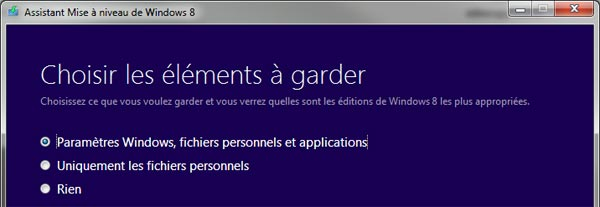 guide tutoriel mise a niveau Windows 8 assistant mise a jour