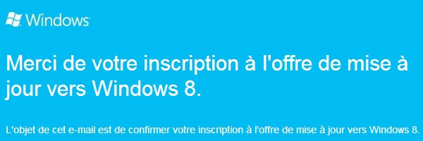 Windows 8 upgrade offer mail