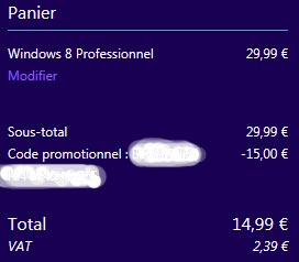 validation achat mise a niveau Windows 8 Pro depuis Windows 7 offre 15€