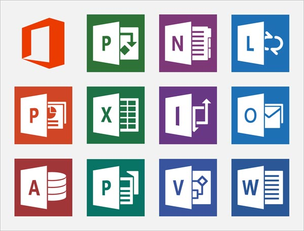 Office 2013 icones logiciels Word Excel PowerPoint Access Outlook Publisher