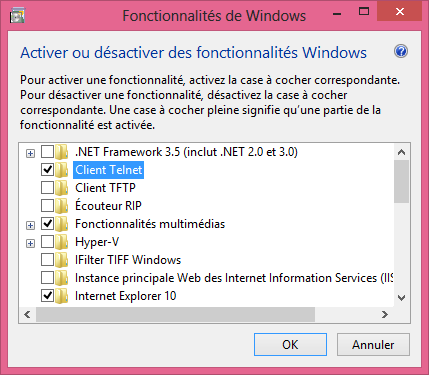 guide tutoriel installer et activer le client Telnet Windows 8
