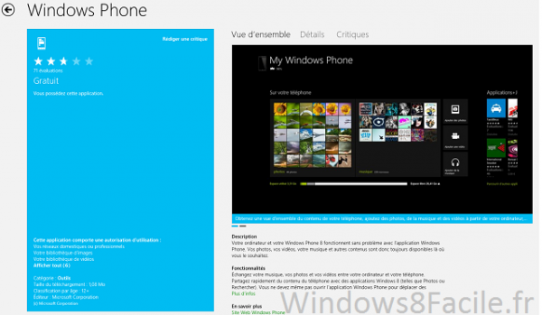 Aperçu: Windows Phone 8 sur Windows 8