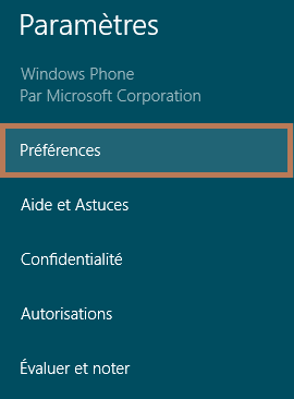 Windows Phone préférences