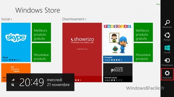 Windows Store Paramètre 1