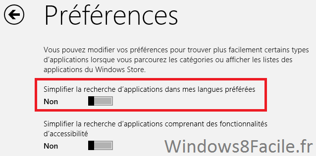 Windows Store Paramètre 3
