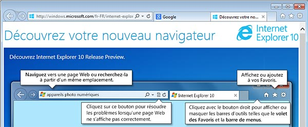page accueil IE10 Internet Explorer 10