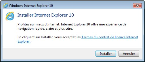 installer Internet Explorer 10 sur Windows 7 x86 x64 32bits 64bits