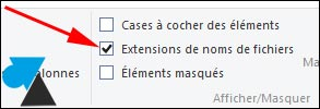 W8 afficher nom extension fichiers explorateur Windows