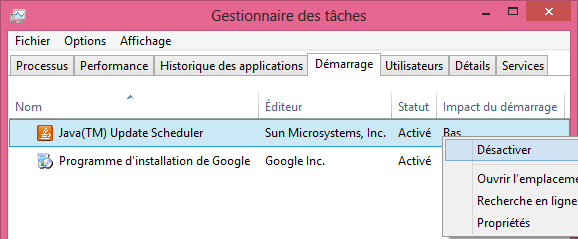 comment faire msconfig demarrage Gestionnaire des taches Windows 8
