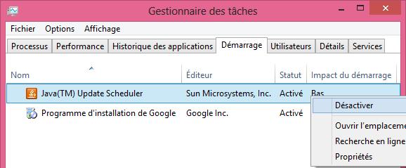 comment faire msconfig demarrage Gestionnaire des taches Windows 8