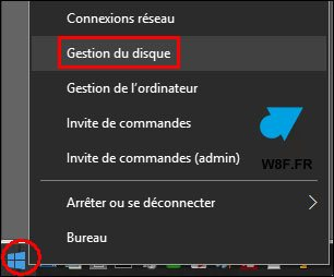 Windows 10 menu demarrer Gestion du disque dur partition