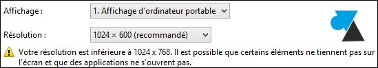 Windows 8 netbook 1024x600 erreur lancement application