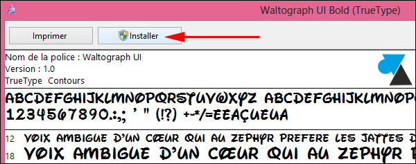 Windows8 installer police caractere TTF OTF