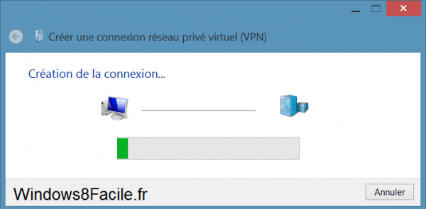 Windows 8 création VPN progression